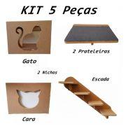 Nicho Gato - Kit Nicho para Gato - 5 peças = 2 Nichos + 2 Prateleira + 1 Escada Gato em Mdf 15mm