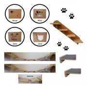 Nicho Gato - Kit Nicho para Gato - 9 peças = 4 Nichos + 2 Prateleiras + 1 Escada + 2 Pontes Gato em Mdf 15mm