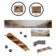 Nicho Gato - Kit Nicho para Gato 6pçs = 2 Nichos + Ponte + Prateleira + Escada + Comedouro De Chão Triplo P/ Gato Mdf 15mm