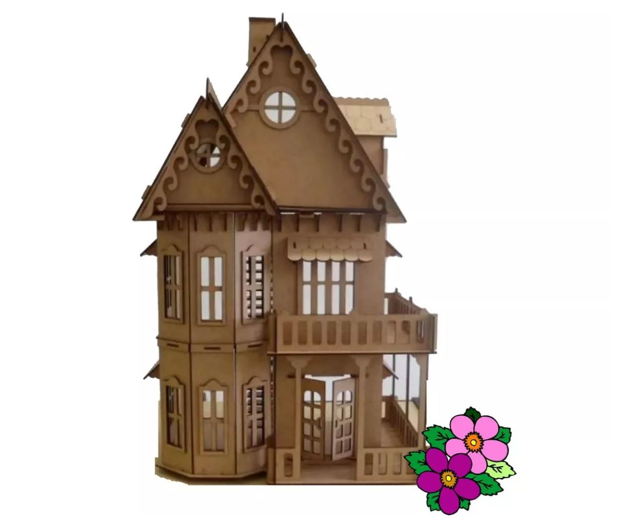 Casa em Mdf  para Bonecas Polly, Barbie Pocket  ou Similares Modelo C6
