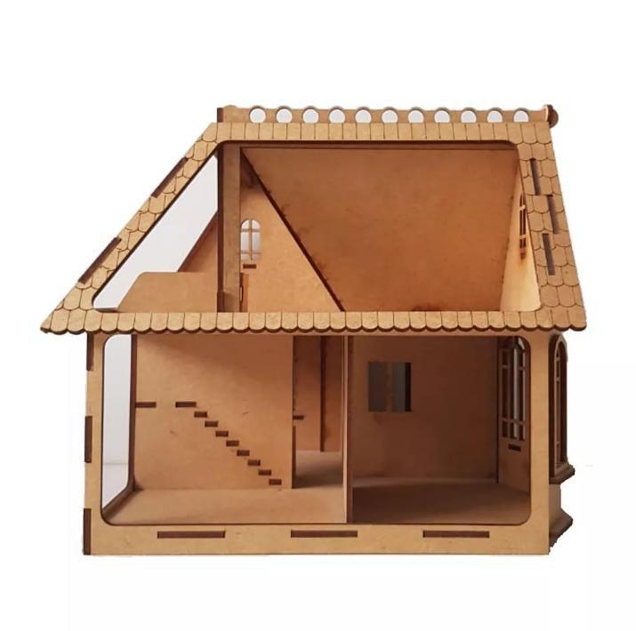 Casinha de Bonecas Modelo C17 para Polly, Barbie Pocket ou similares em MDF de 3mm