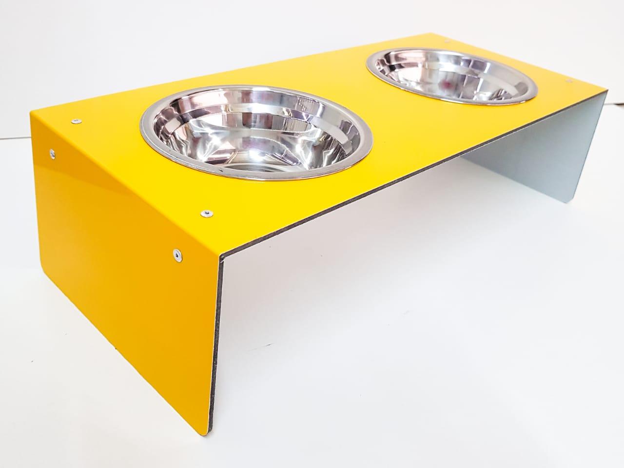 Comedouro e Bebedouro duplo Pet para Gato e Cachorro em ACM com Vasilha de INOX 300ML