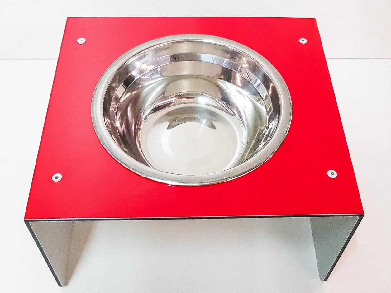 Comedouro e Bebedouro individual Pet para Gato e Cachorro em ACM com Vasilha de INOX 300ML