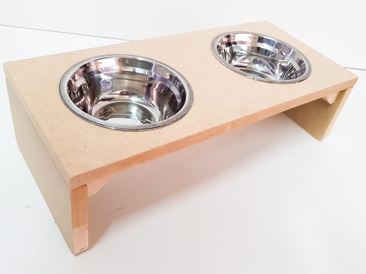 Comedouro Gato e Cachorro - Comedouro  Duplo Para Cachorro E Gato Em Mdf 15mm Com Potinho 300ml