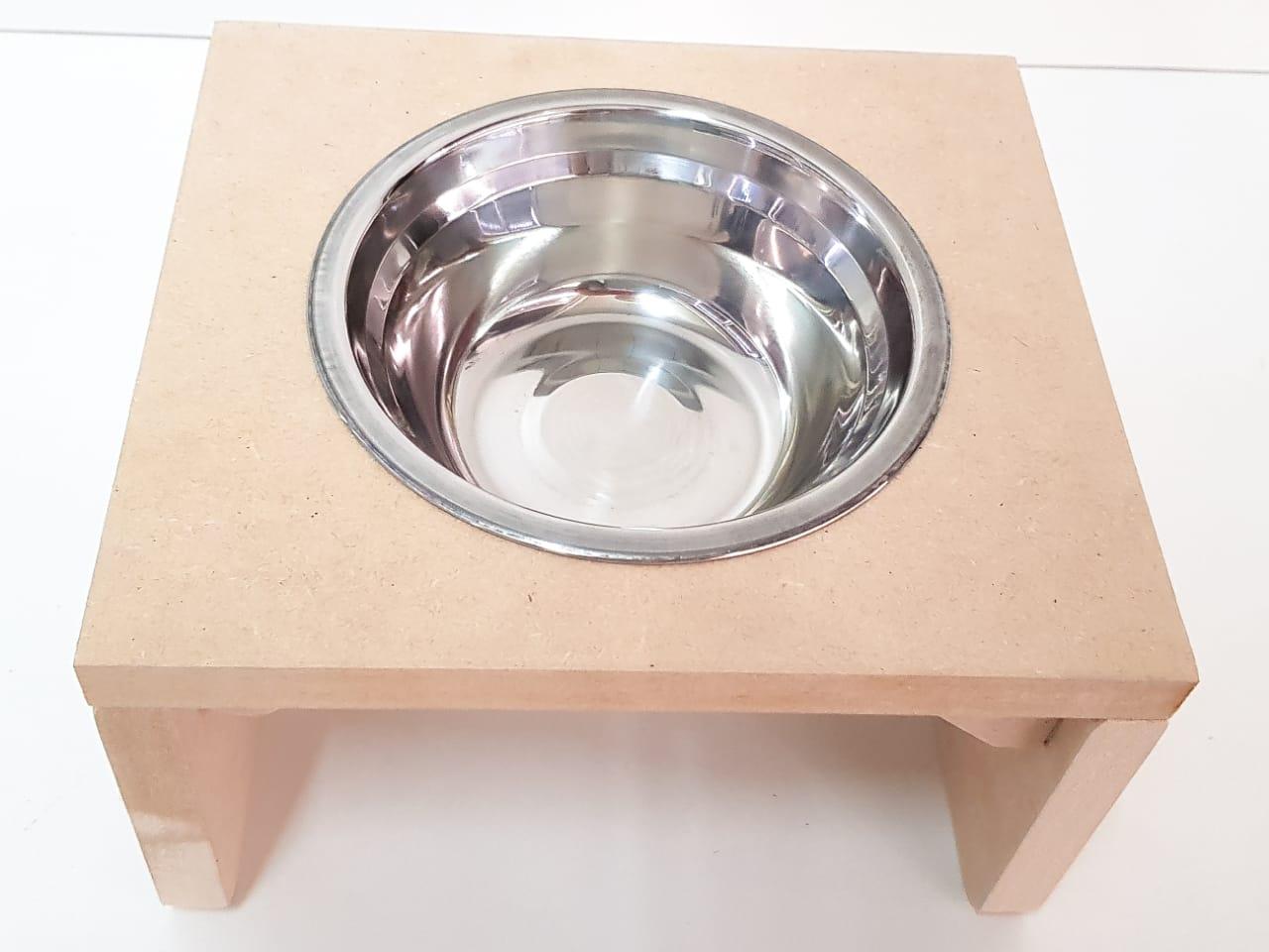 Comedouro Individual para Gato e Cachorro - Pet Mdf 15mm com Pote 300ml