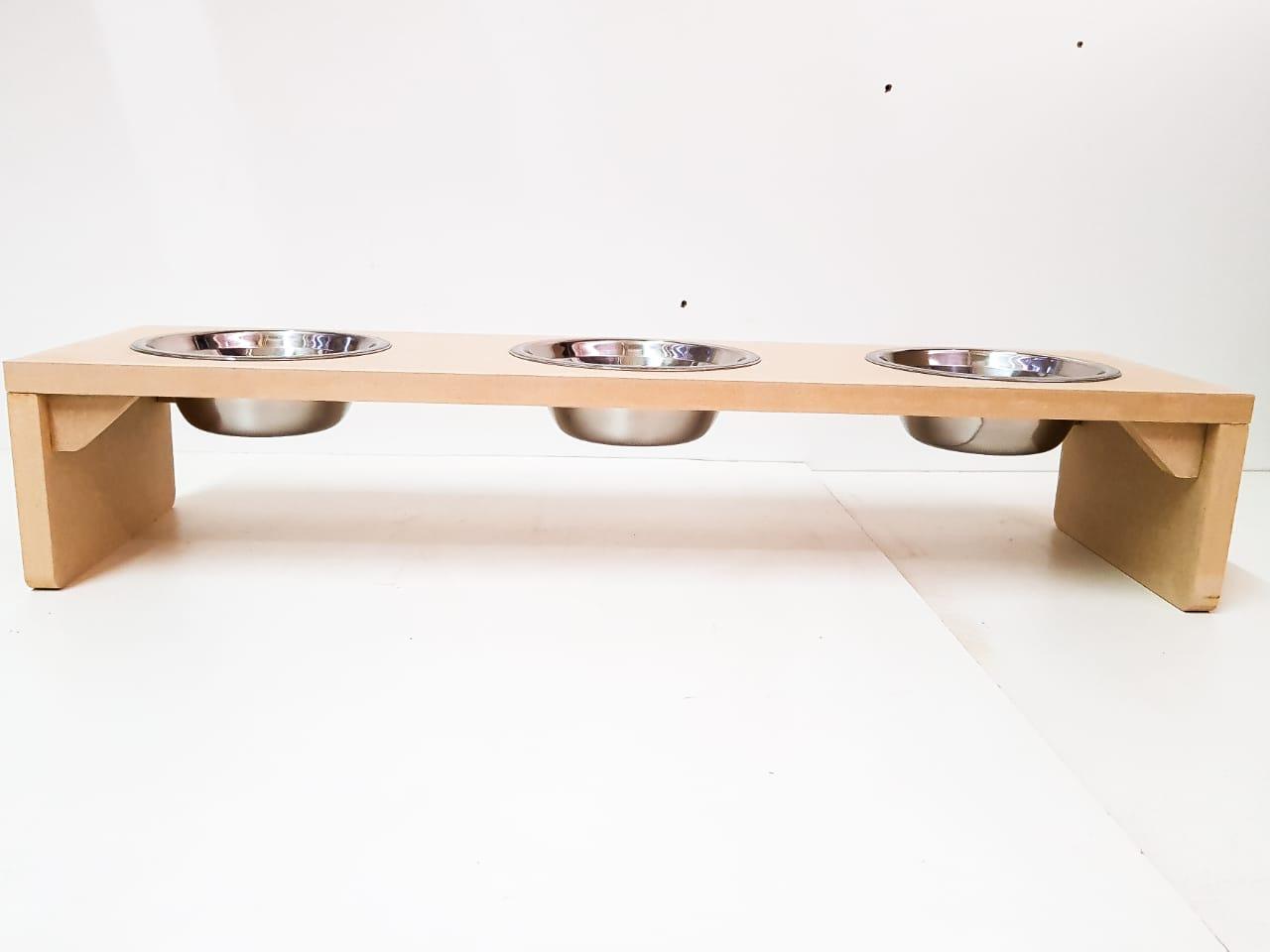 Comedouro Triplo Cachorro E Gato Mdf 15mm Com Pote Inox300ml