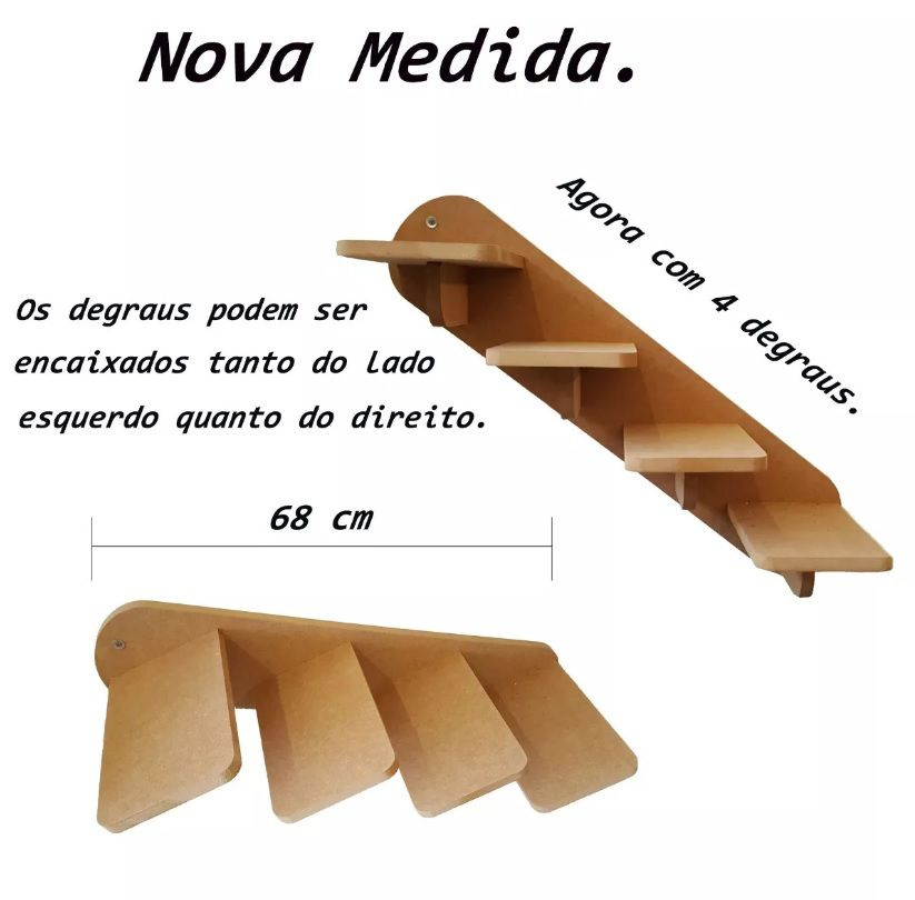 Escada de parede para Gato com 4 Degraus -  Pet Mdf 15mm