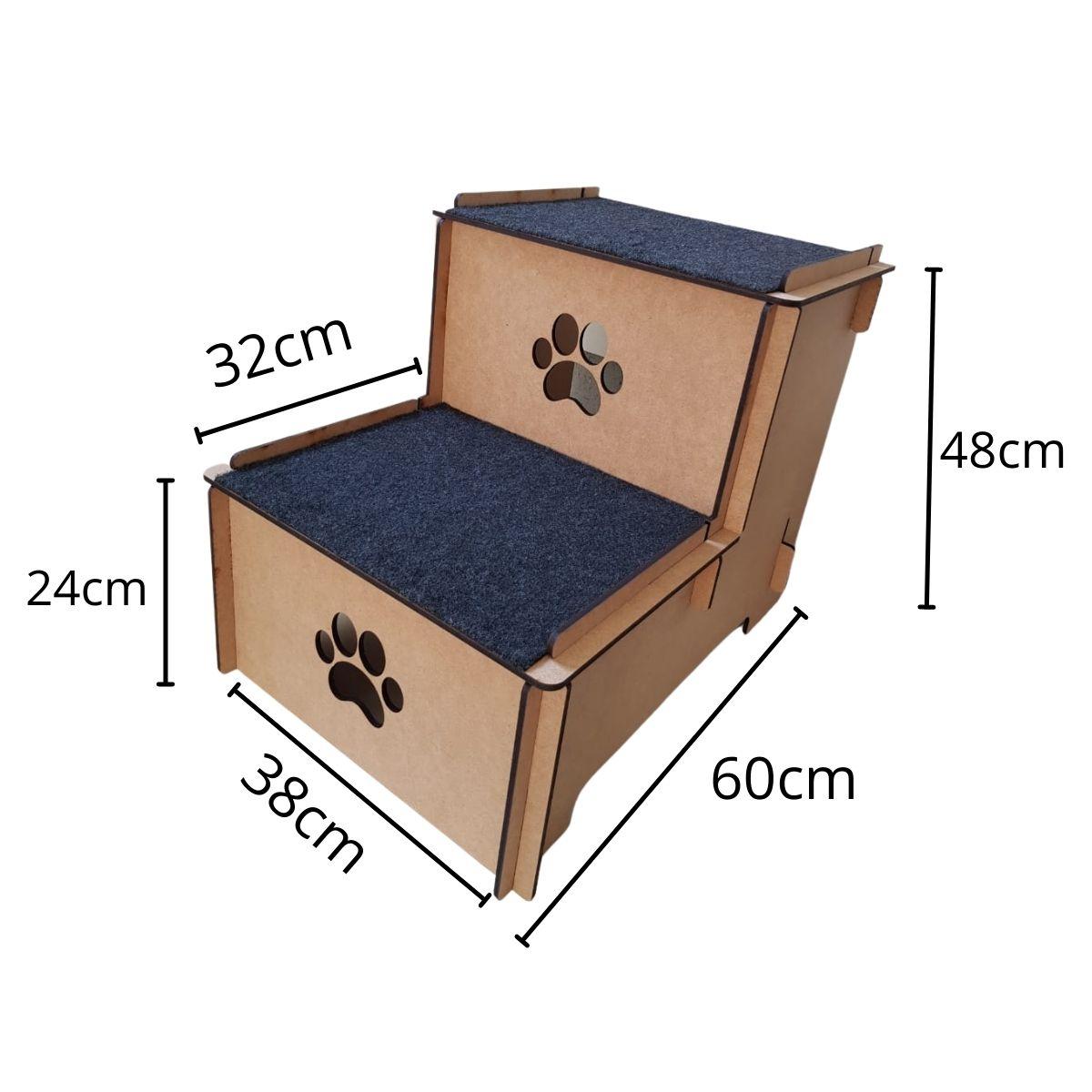 Escada Pet Cachorro e Gato 2 degraus dois andares MDF 6mm