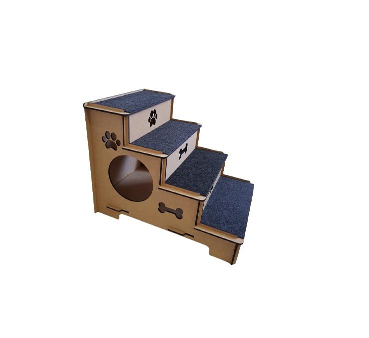 Escada Pet com Toca para Gato e Cachorro com carpete em MDF 6mm