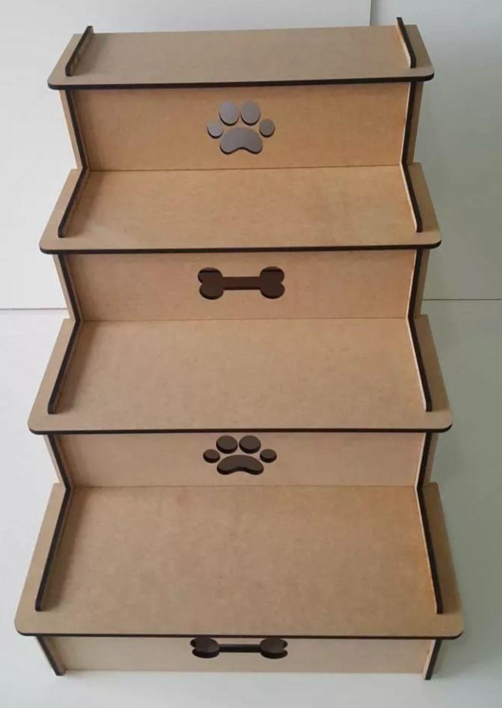 Escada Pet Para Cachorro E Gato Com 4 Degraus Em Mdf