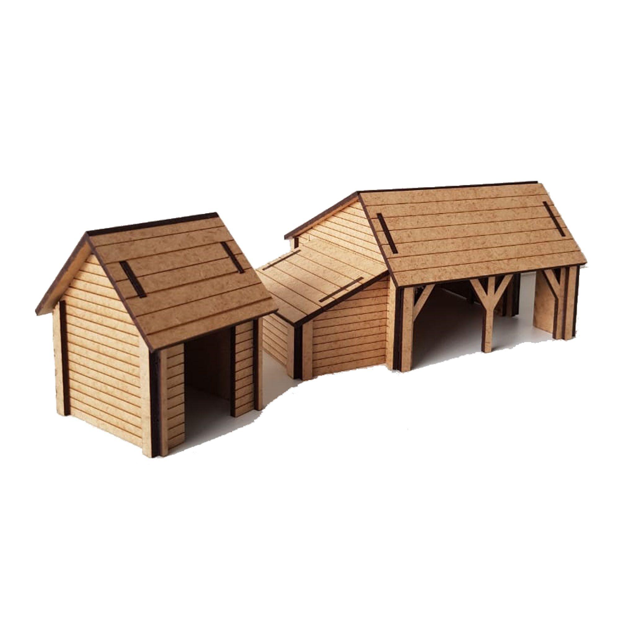 Fazendinha F01 - Acompanha: celeiro, estábulo, galinheiro e garagem. MDF 3mm