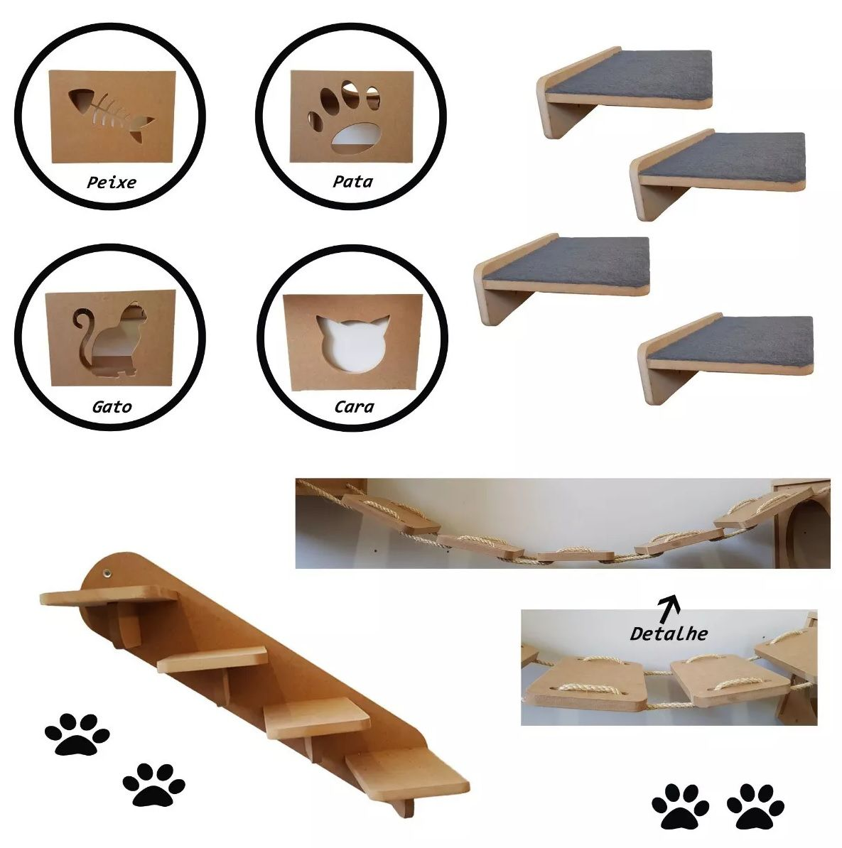 Kit 13pçs= 4 Nichos + 4 Prateleiras + 2 Escadas + 3 Pontes p/  Gato Mdf 15mm