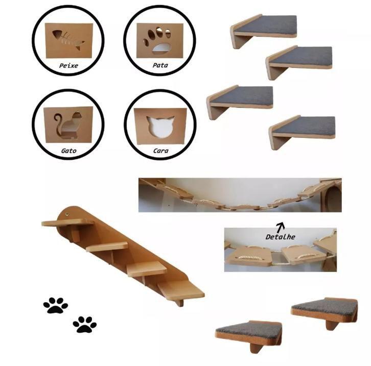 Kit 17pçs = 4 Nichos + 4 Prateleiras + 2 Escada + 3 Ponte + 4 Steps para Gato em MDF de 15mm