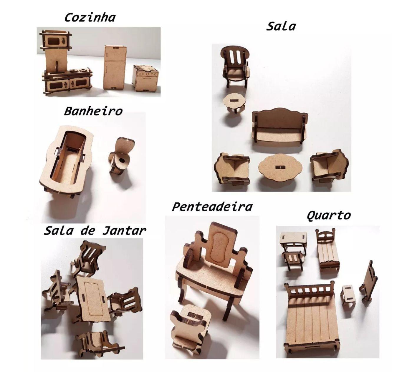 Kit 24 Móveis Mdf Para Casa De Bonecas Polly, Barbie Pocket