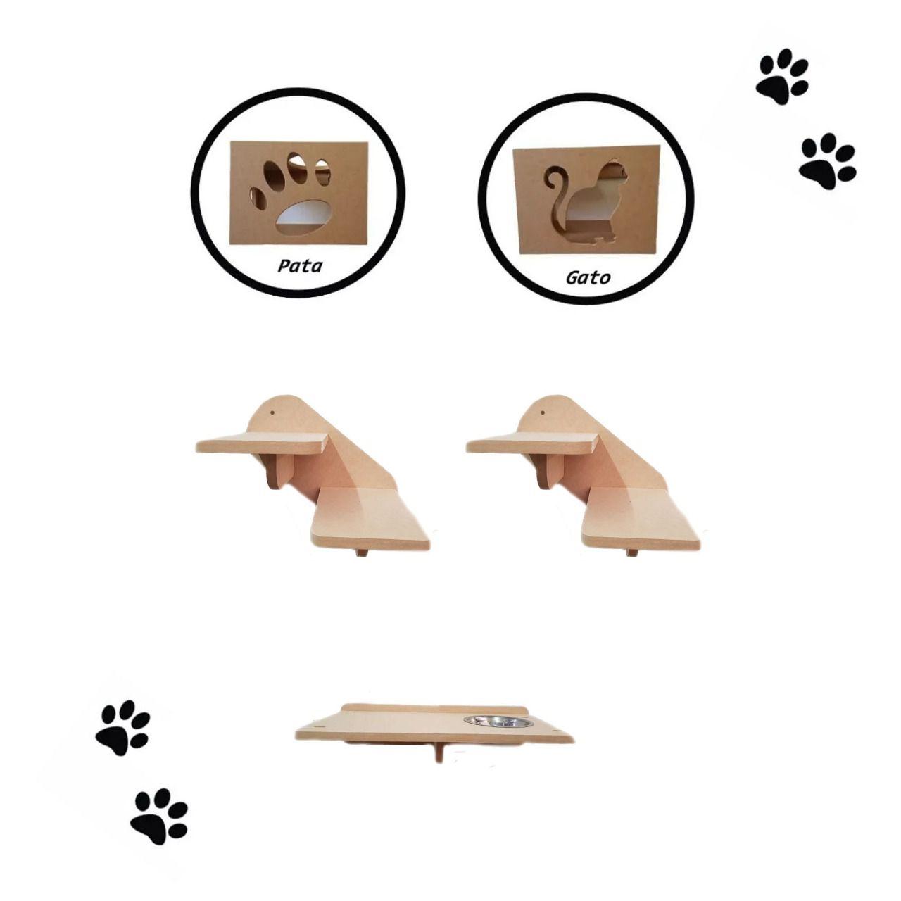 Kit 5 peças =  2 Nichos + Comedouro + 2 Escadas para Gato - Pet em MDF 15mm