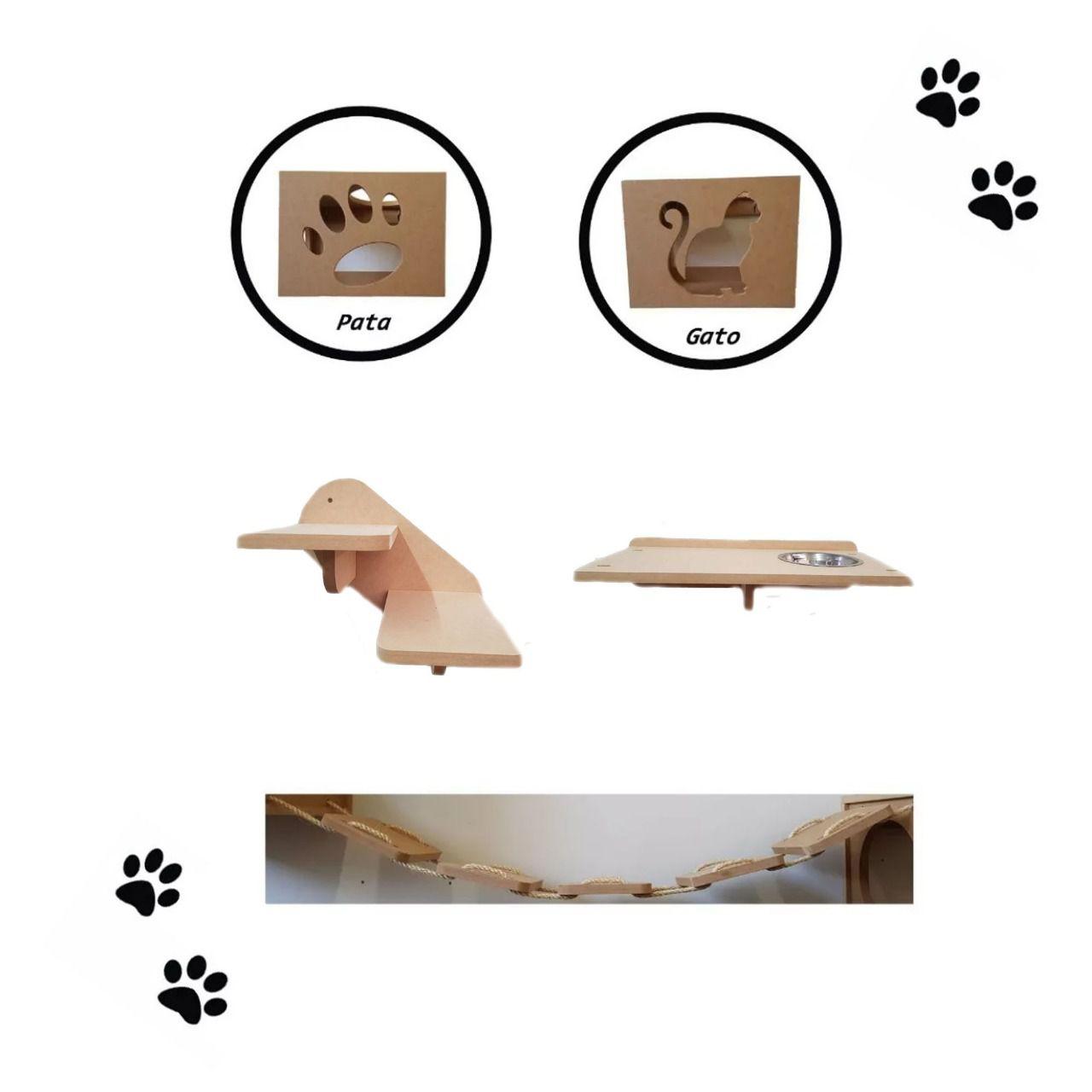 Kit 5 peças =  2 Nichos + Ponte + Comedouro + Escada para Gato - Pet em MDF 15mm