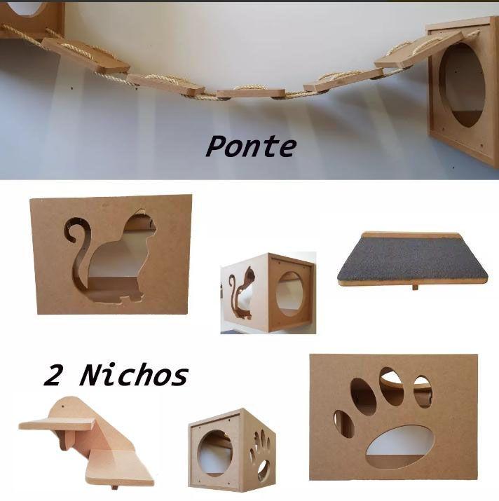 Nicho Gato - Kit 5 peças = 2 Nichos + Ponte + Prateleira + Escada para Gato - Nicho para Gato Pet em MDF 15mm