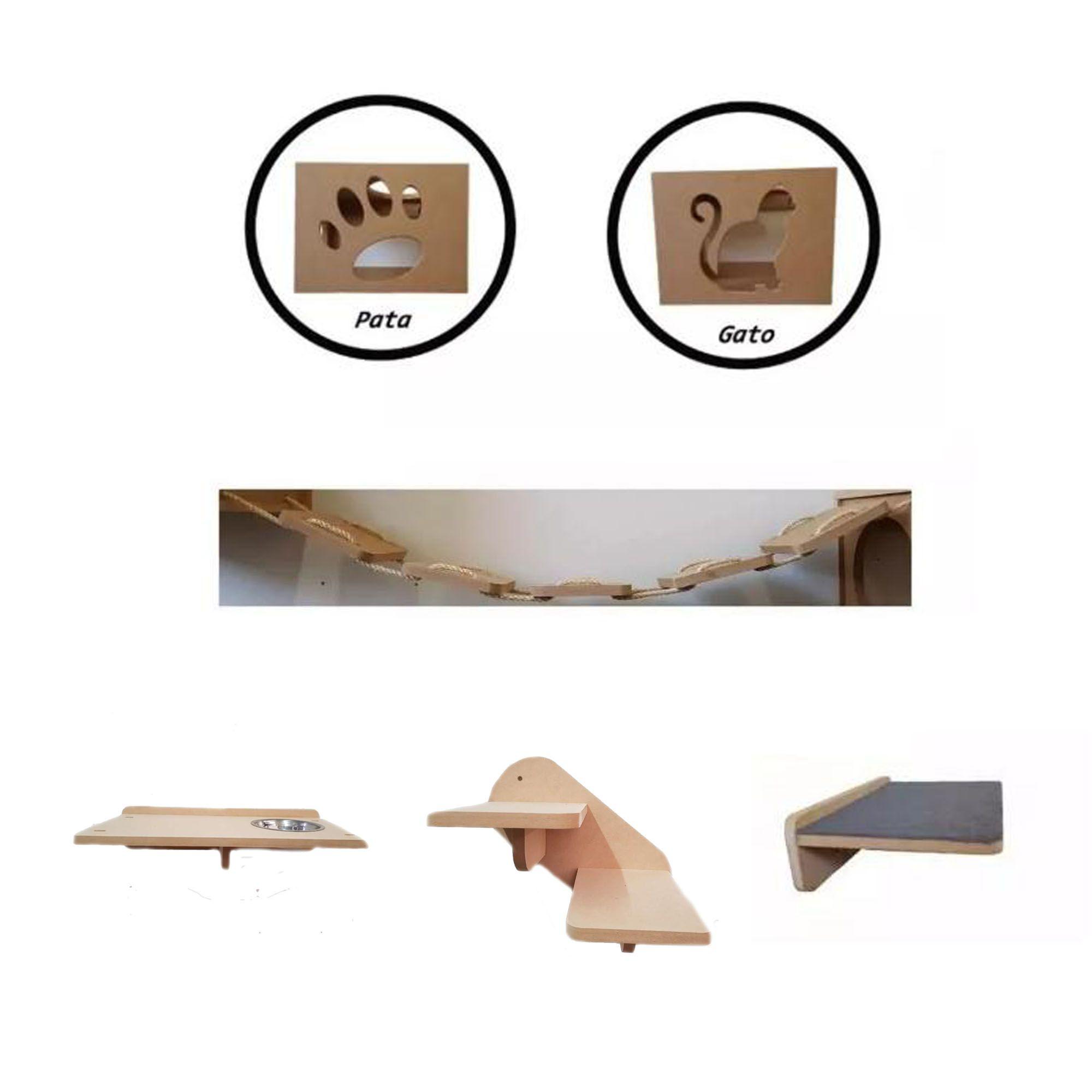 Nicho Gato - Kit Nicho para Gato - 6 peças = 2 Nichos + ponte + comedouro + escada + prateleira para Gato em MDF 15mm