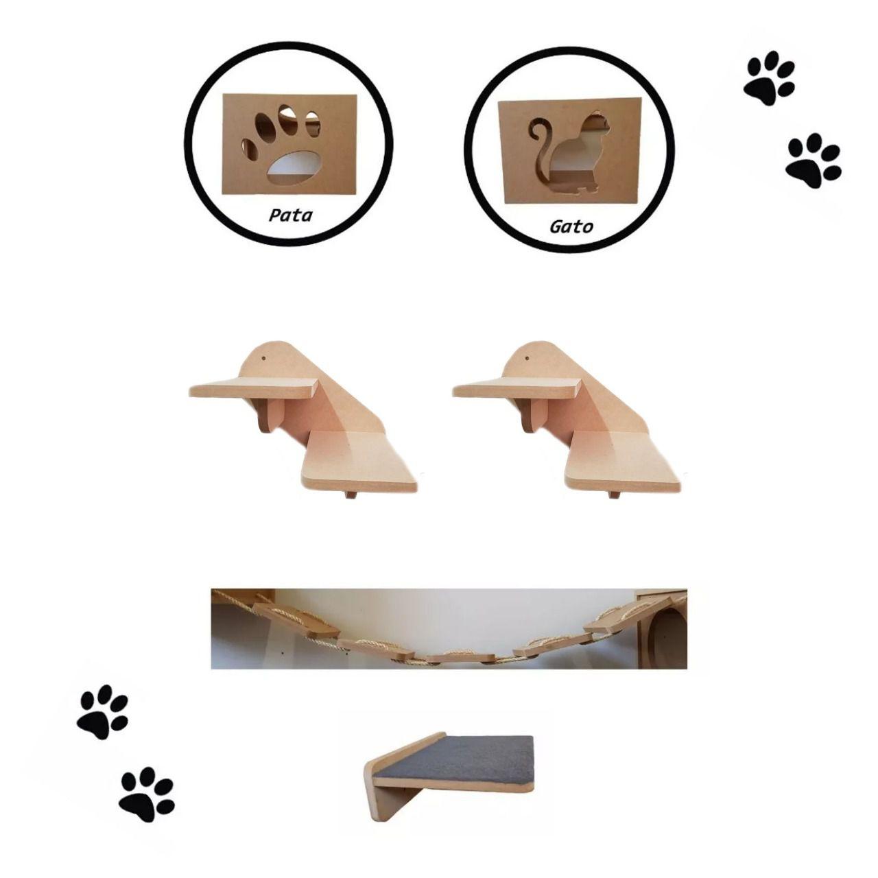 Nicho Gato - Kit Niho para Gao - 6 peças = 2 Nichos + Ponte + Prateleira + 2 Escadas para Gato em MDF 15mm