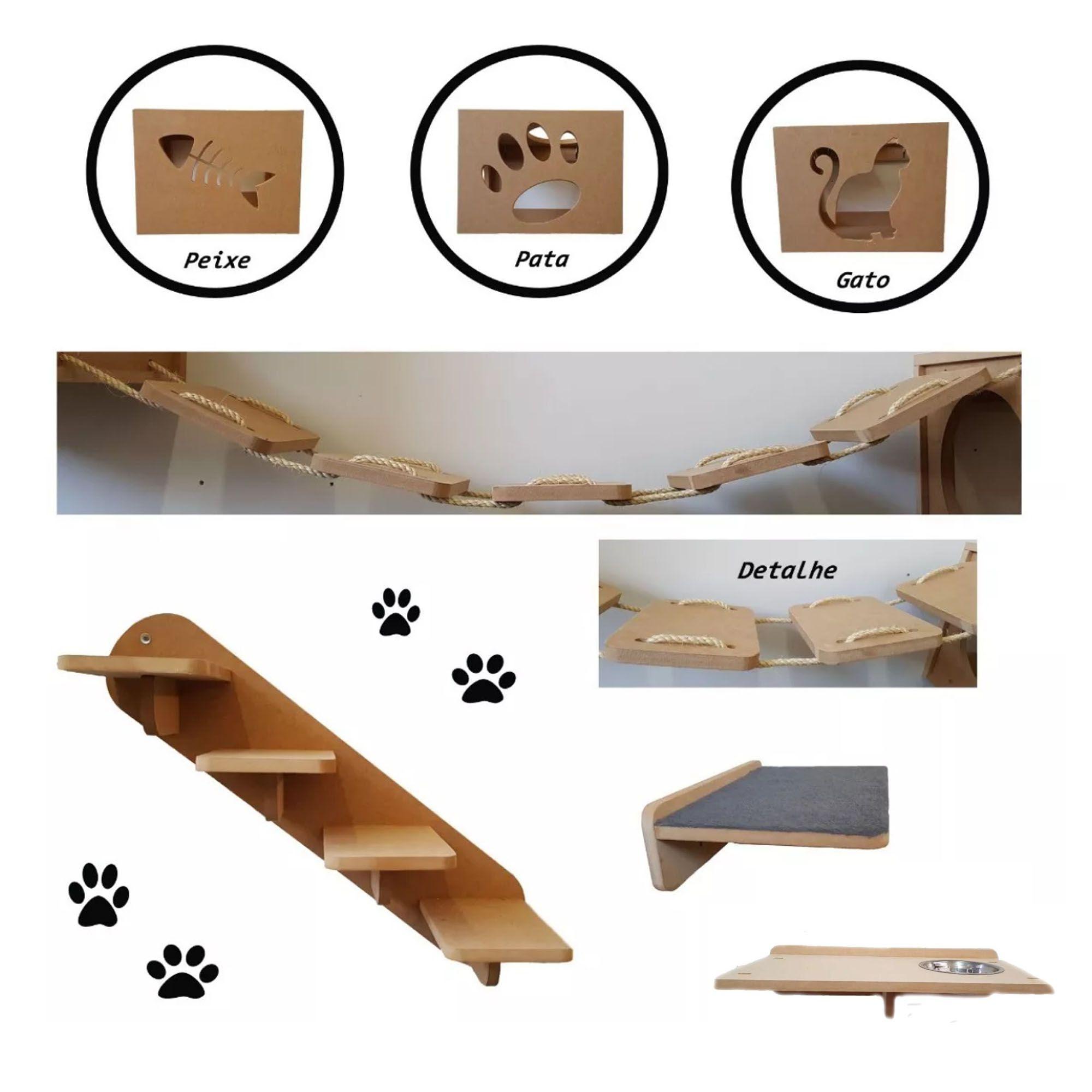 Nicho Gato - Kit Nicho para Gato - 7 pçs = 3 Nichos + Comedouro + Prateleira + Escada + Ponte para gato em MDF 15mm