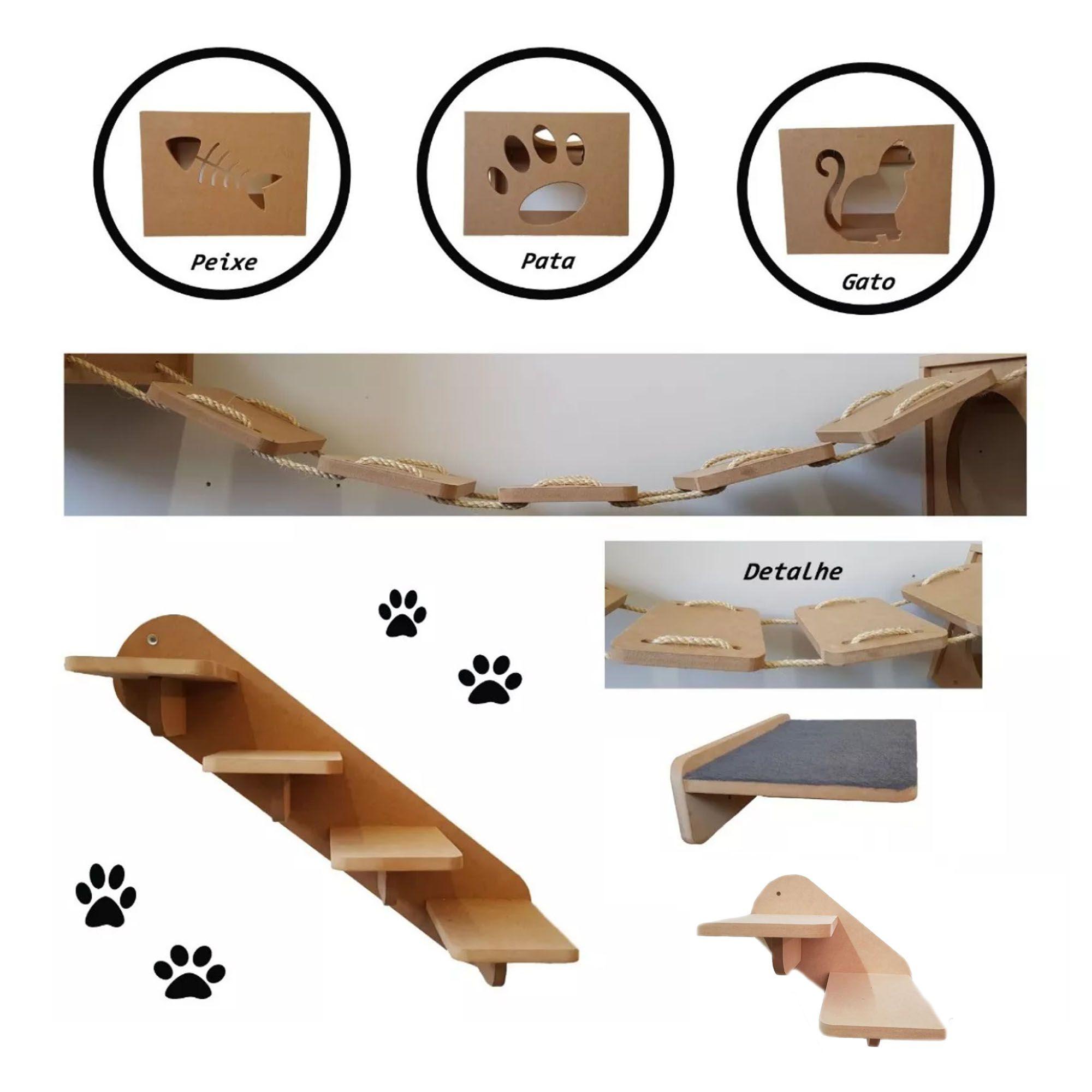 Nicho Gato - Kit Nicho para Gato - 7 pçs = 3 Nichos + Prateleira + 1 Escada grande + 1 Escada pequena +  Ponte para gato  em Mdf 15mm