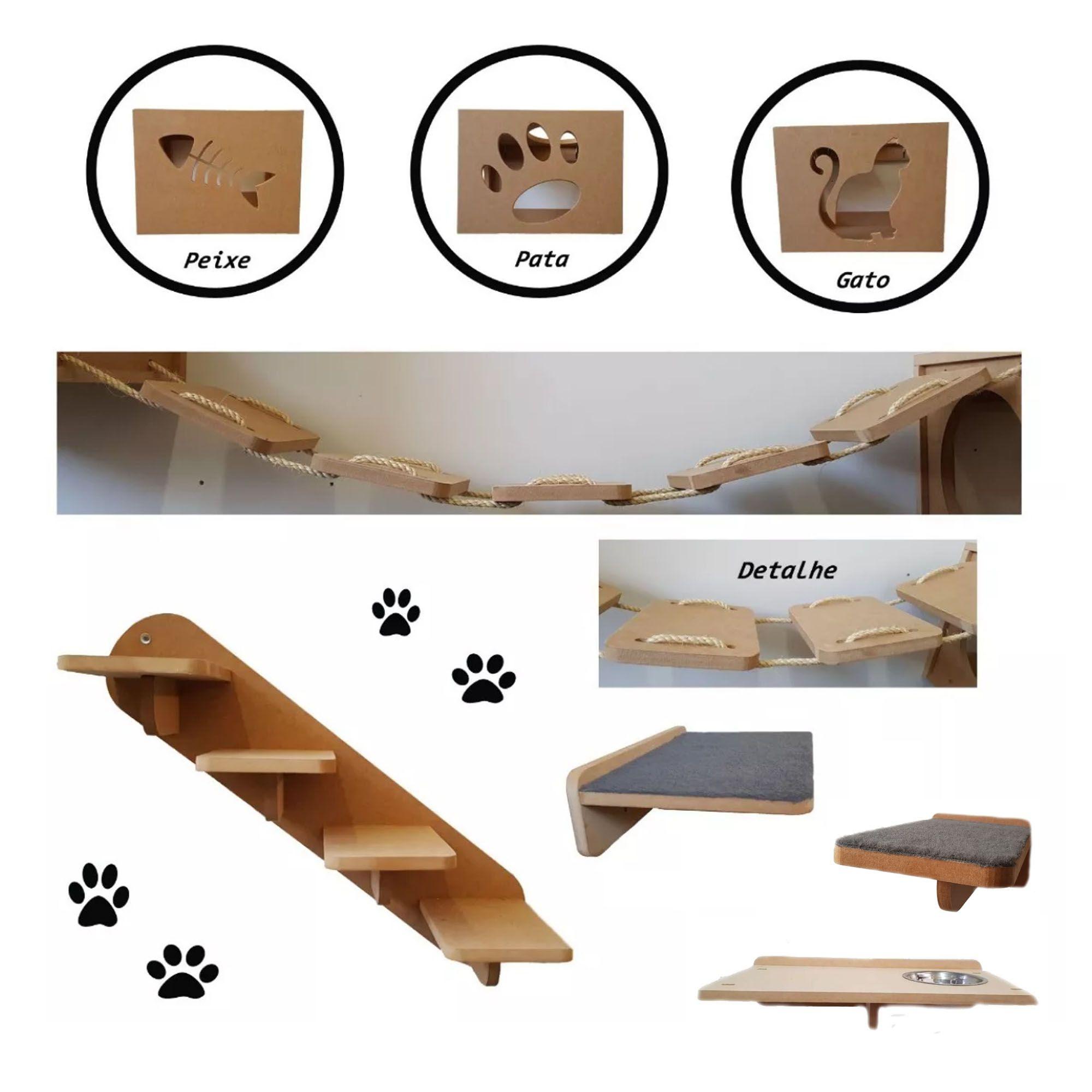 Nicho Gato - Kit Nicho para Gato - 8 pçs = 3 Nichos + Prateleira + Step + Comedouro + Escada + Ponte para gato  em Mdf 15mm