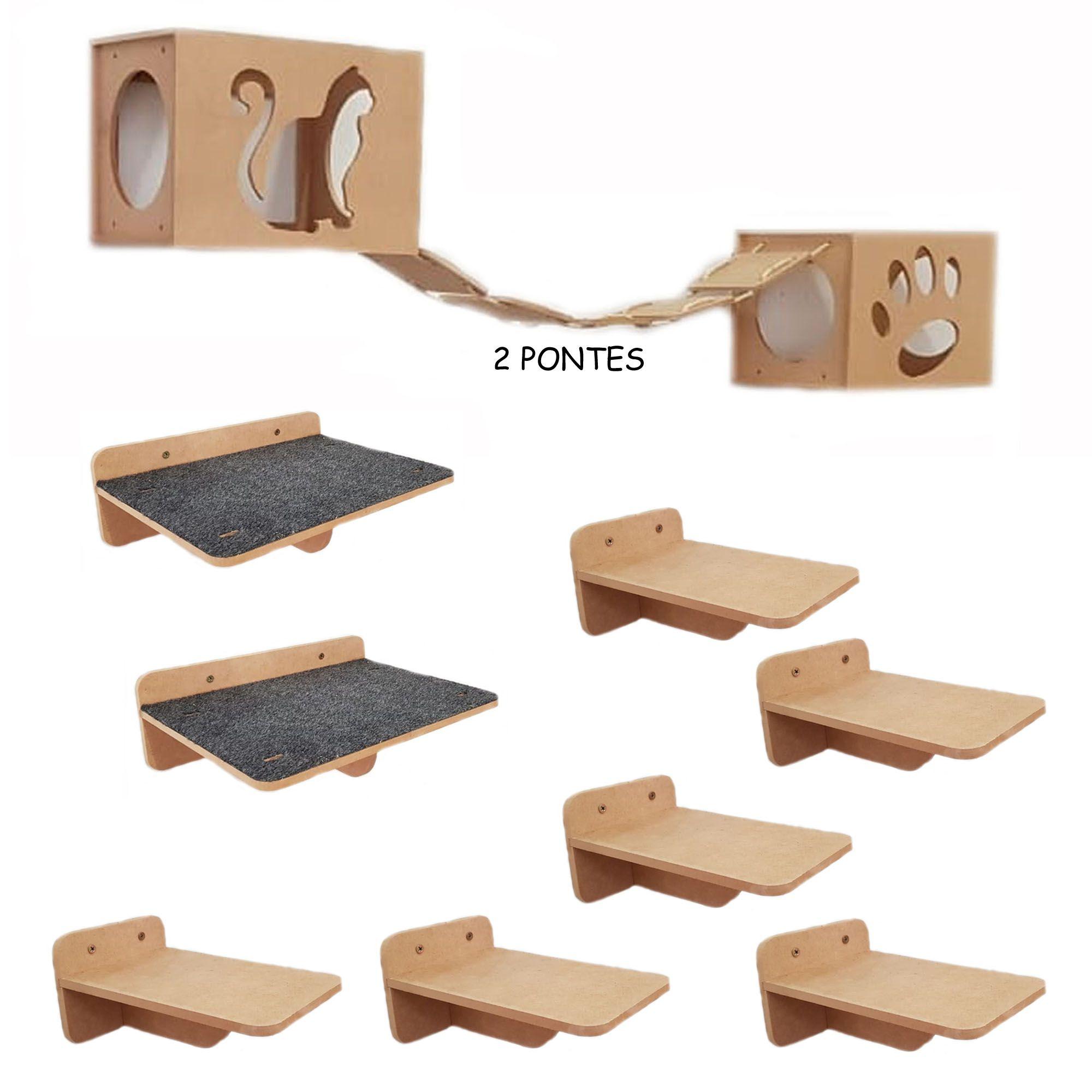 Kit Nicho Gato 12 pçs - 2 Nichos + 2 prateleiras + 2 pontes + 6 Degraus - MDF 9mm
