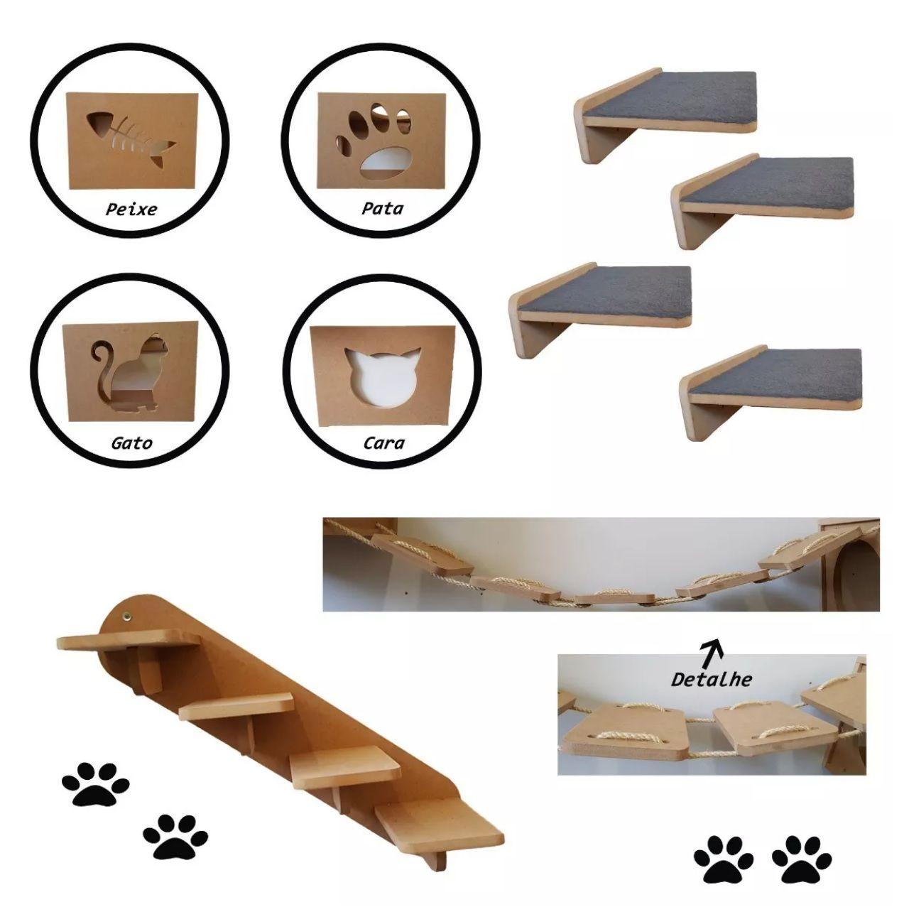 Nicho Gato - Kit Nicho para Gato - 10 peças = 4 Nichos + 4 Prateleiras + 1Escada + 1 Ponte para Gato em Mdf 15mm
