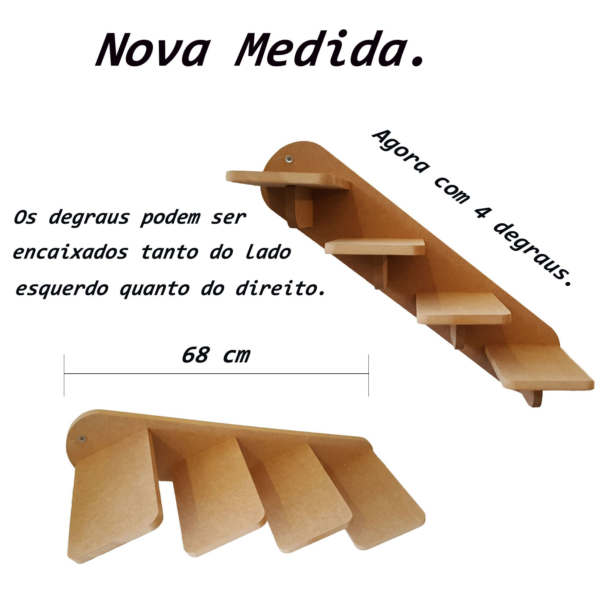 Kit Nicho para Gatos - 5 peças =  2 Nichos + 1 Prateleira + 1 Escada + 1Ponte Gato Mdf 15mm