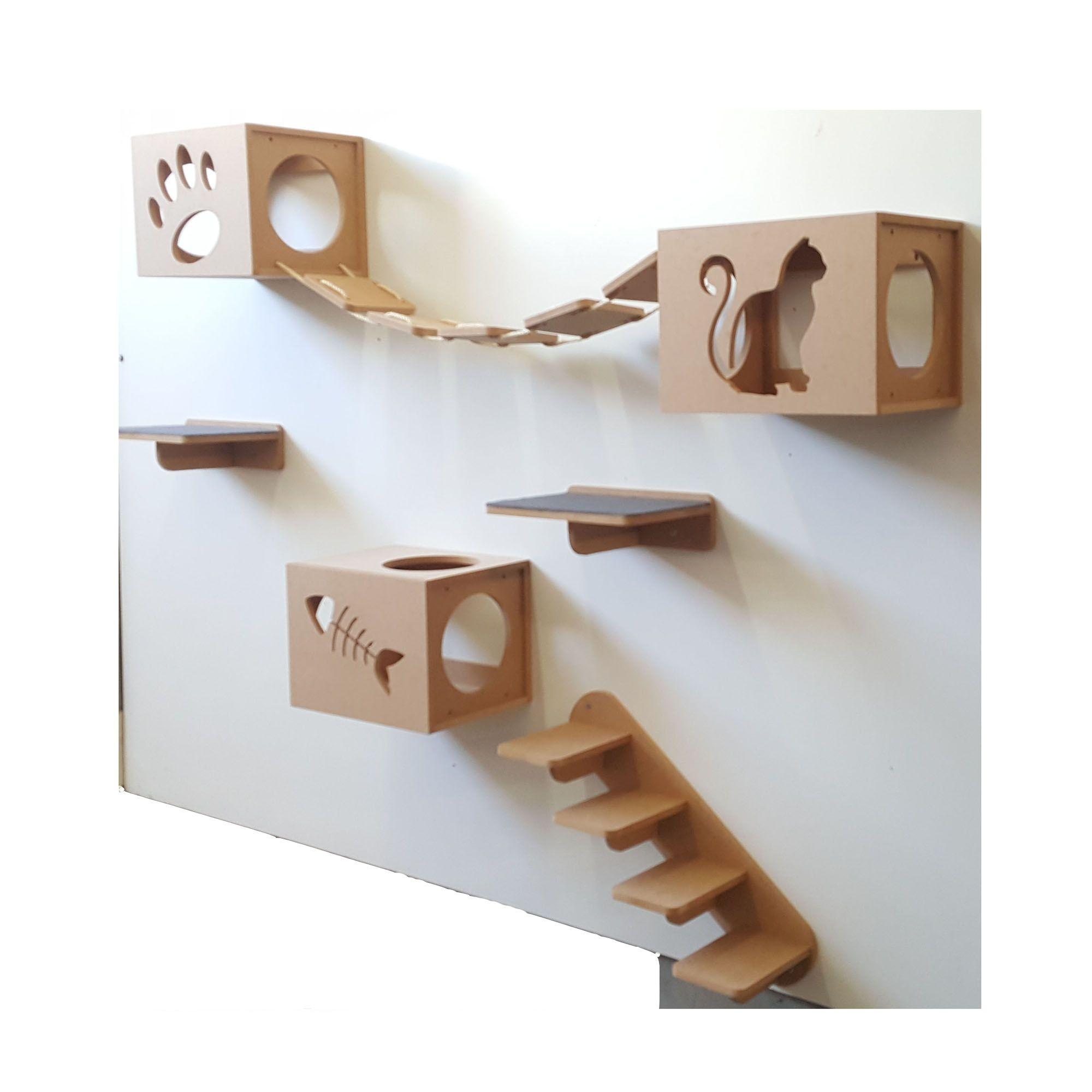 Nicho Gato - Kit Nicho para Gato - 7 peças = 3 Nichos + 2 Prateleiras + 1 Escada + 1Ponte Gato em Mdf 15mm