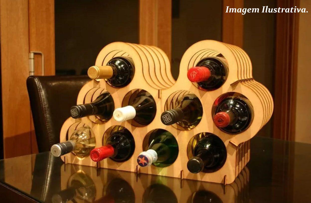Mini Adega suporte para vinhos com capacidade para 10 garrafas. Em MDF 3mm