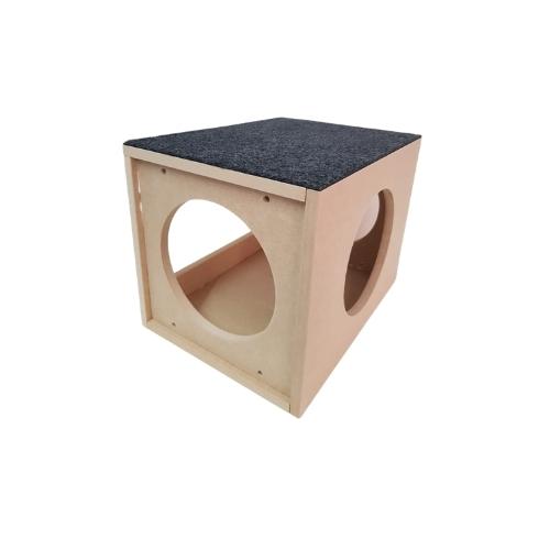 Nicho de parede ou chão para Pet Gato em MDF 15mm com aberturas e carpete