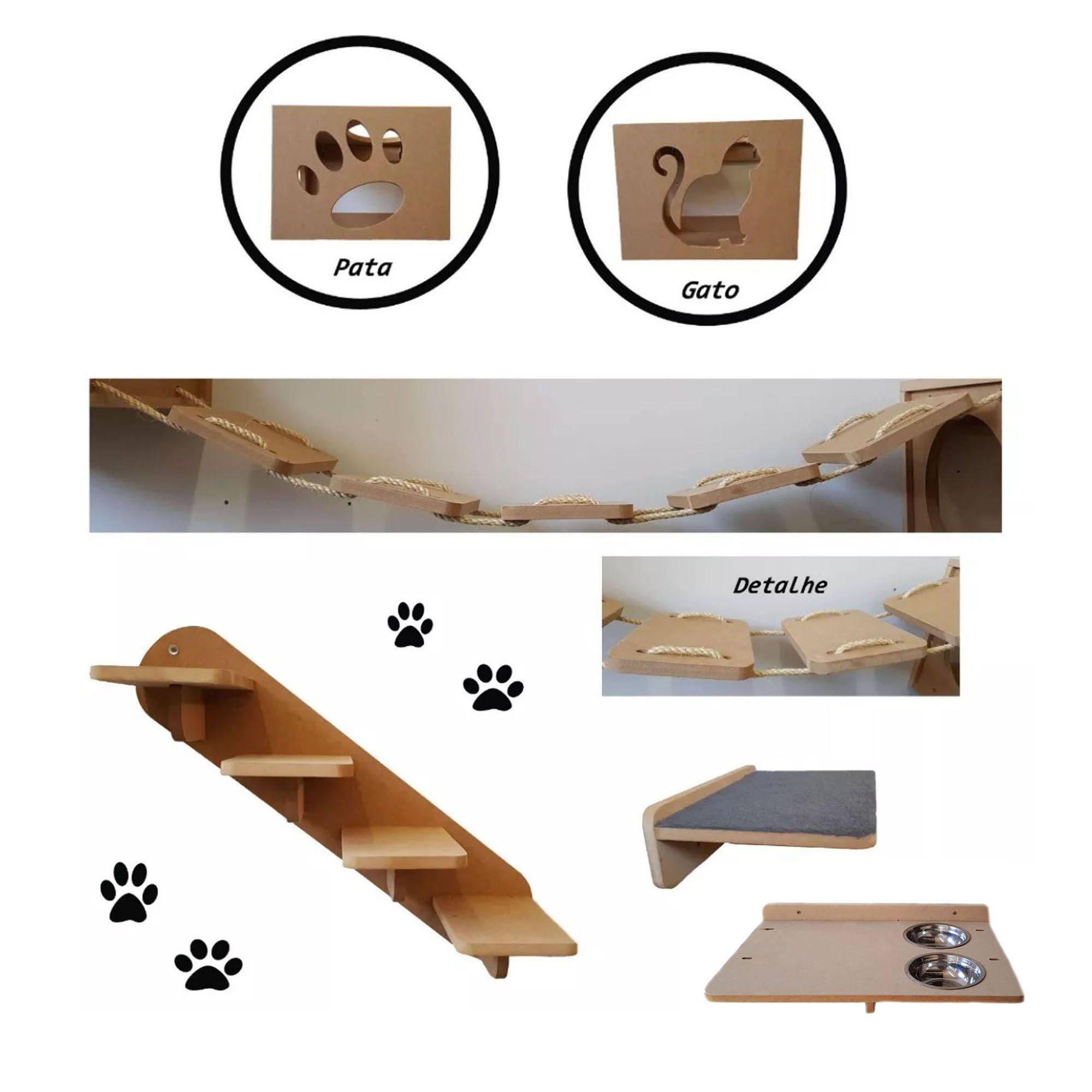 Nicho Gato - Kit Nicho para Gato 6pçs = 2 Nichos + Ponte + Prateleira + Escada + Comedouro Suspenso Duplo P/ Gato Mdf 15mm