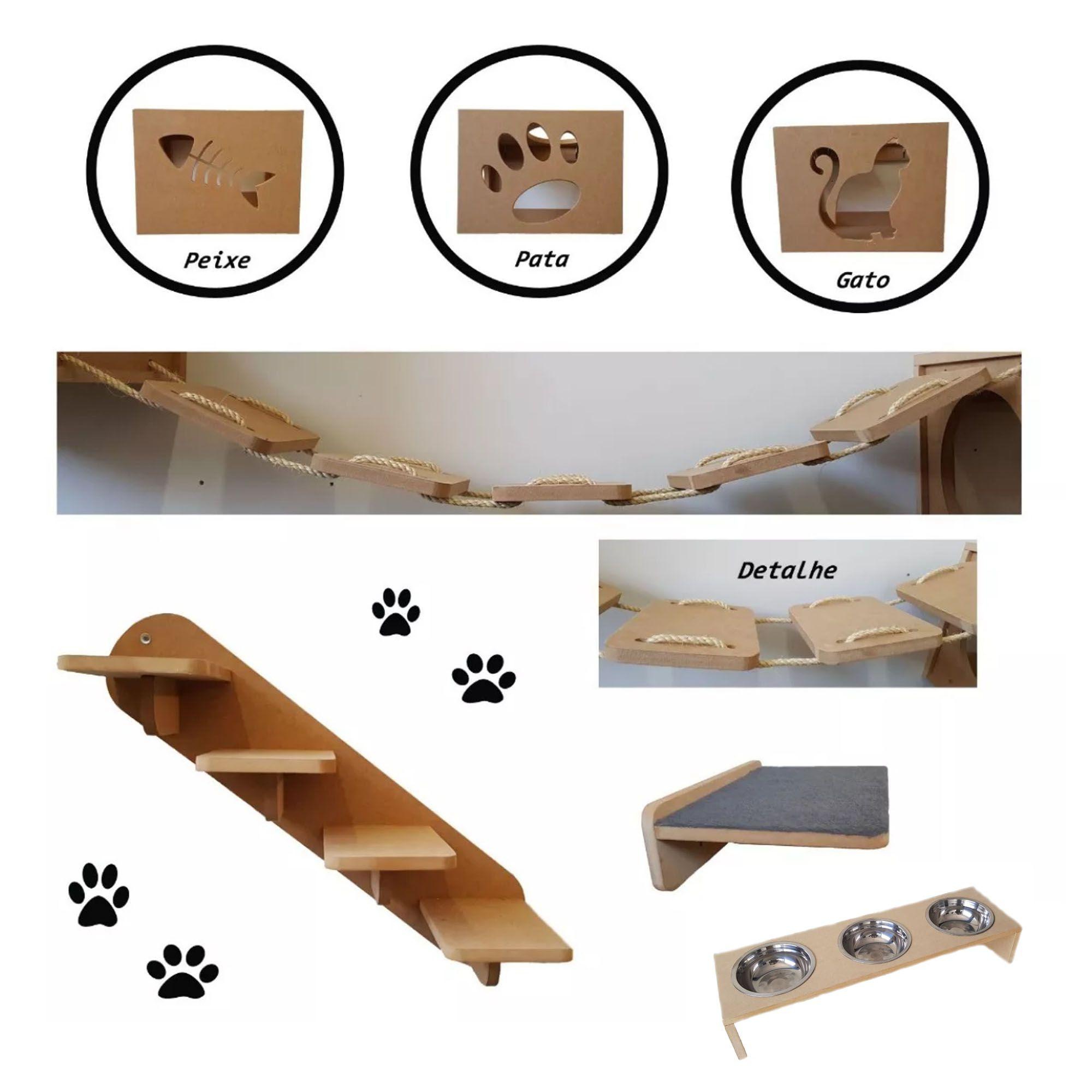 Nicho Gato - Kit Nicho para Gato 7 pçs = 3 Nichos + Comedouro De Chão Triplo + Prateleira + Escada + Ponte Gato Mdf15mm