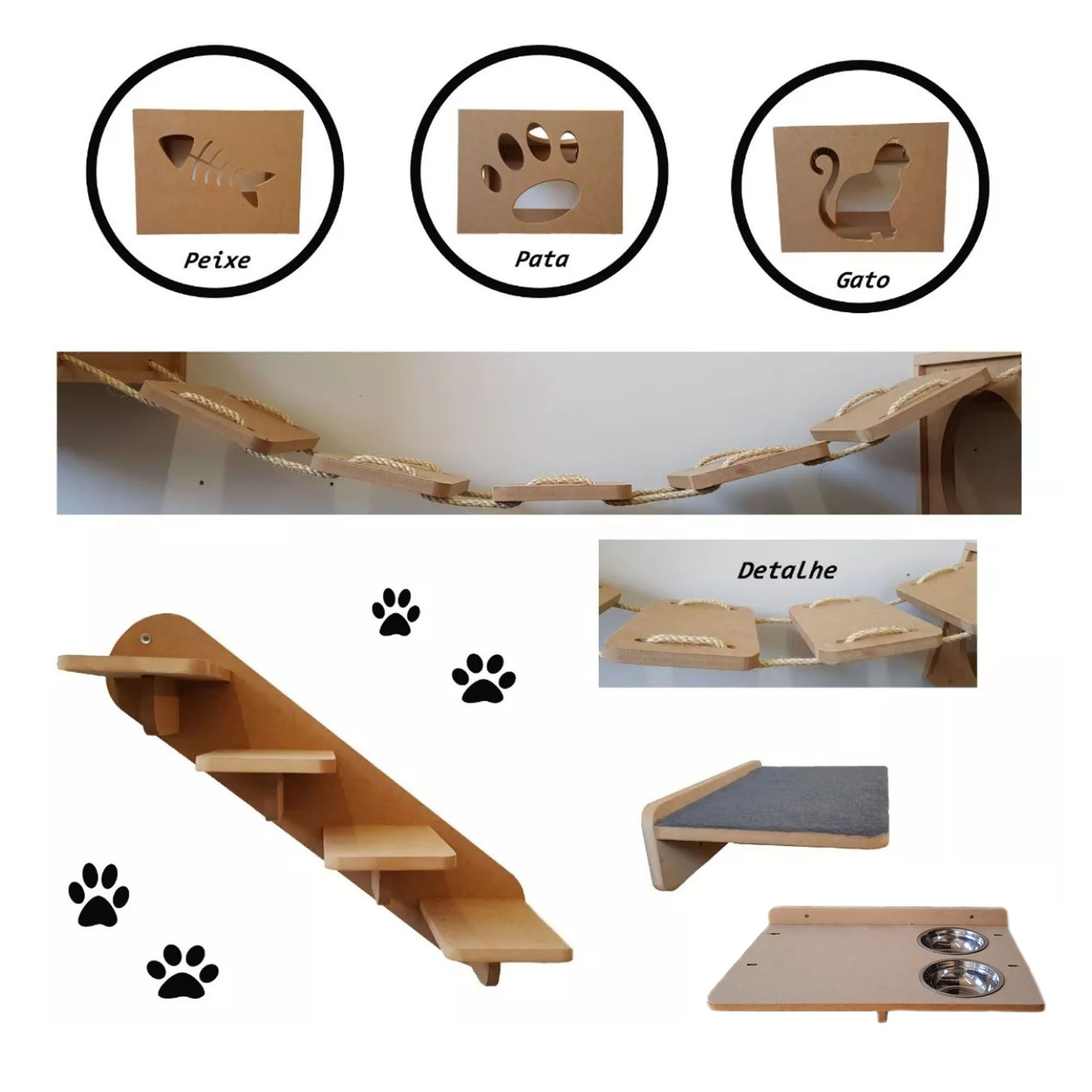 Nicho Gato - Kit Nicho para Gato 7 Peças = 3 Nichos + Comedouro Suspenso Duplo + Prateleira + Escada + Ponte Gato Mdf 15mm