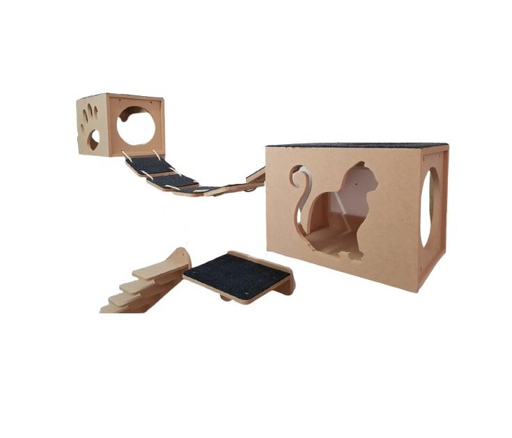 Nicho Gato - Kit Nicho para Gatos - 5 peças =  2 Nichos + 1 Prateleira + 1 Escada + 1Ponte Gato em Mdf 15mm