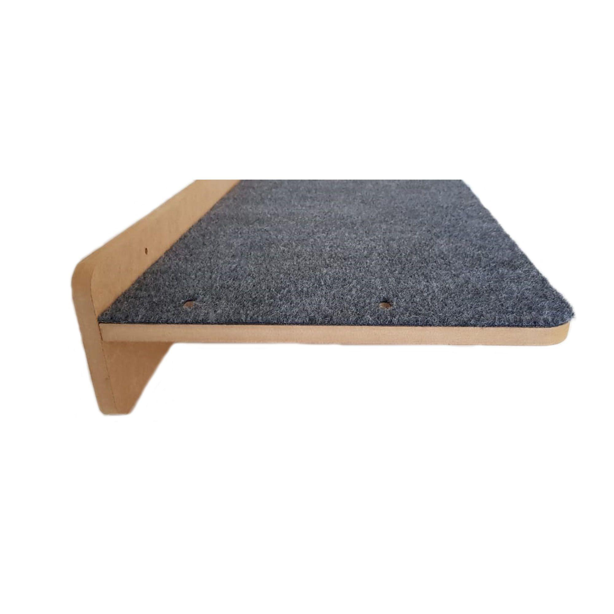 Prateleira com Arranhador Em Carpete 60x35 para Gato Gatos Pet em MDF 15mm
