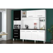 Armário de Cozinha Completo Holanda 2.2 Branco com Preto - CSA Móveis