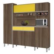 Armário de Cozinha Completo Brasil 2.3 Noce com Amarelo - CSA Móveis
