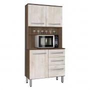 Armário de Cozinha Montreal 0.8 Noce com Ravena - CSA Móveis