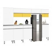 Armário de Cozinha San Francisco 3.0 Branco com Amarelo - CSA Móveis