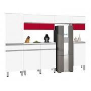 Armário de Cozinha San Francisco 3.0 Branco com Vermelho - CSA Móveis