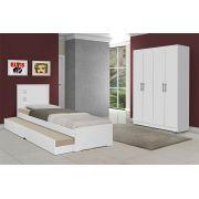 Dormitório Completo Solteiro Dubai com Barcelona Branco - Tebarrot Móveis