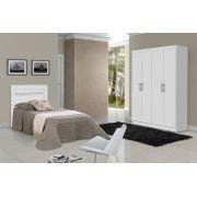 Dormitório Completo Solteiro Dubai com Dallas II Branco - Tebarrot Móveis