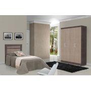 Dormitório Completo Solteiro Dubai com Dallas II Ipê com Avelã - Tebarrot Móveis
