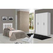 Dormitório Completo Solteiro Dubai com Roma Branco - Tebarrot Móveis