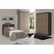 Dormitório Completo Solteiro Dubai com Sicília Ipê com Avelã - Tebarrot Móveis