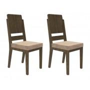 Jogo 2 Cadeiras Esmeralda Imbuia com Suede Bege - RV Móveis