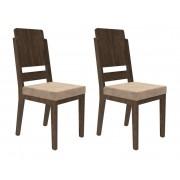 Jogo 2 Cadeiras Esmeralda Noce com Suede Bege - RV Móveis