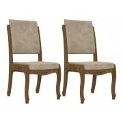 Jogo 2 Cadeiras Ônix II Imbuia com Suede Bege - RV Móveis